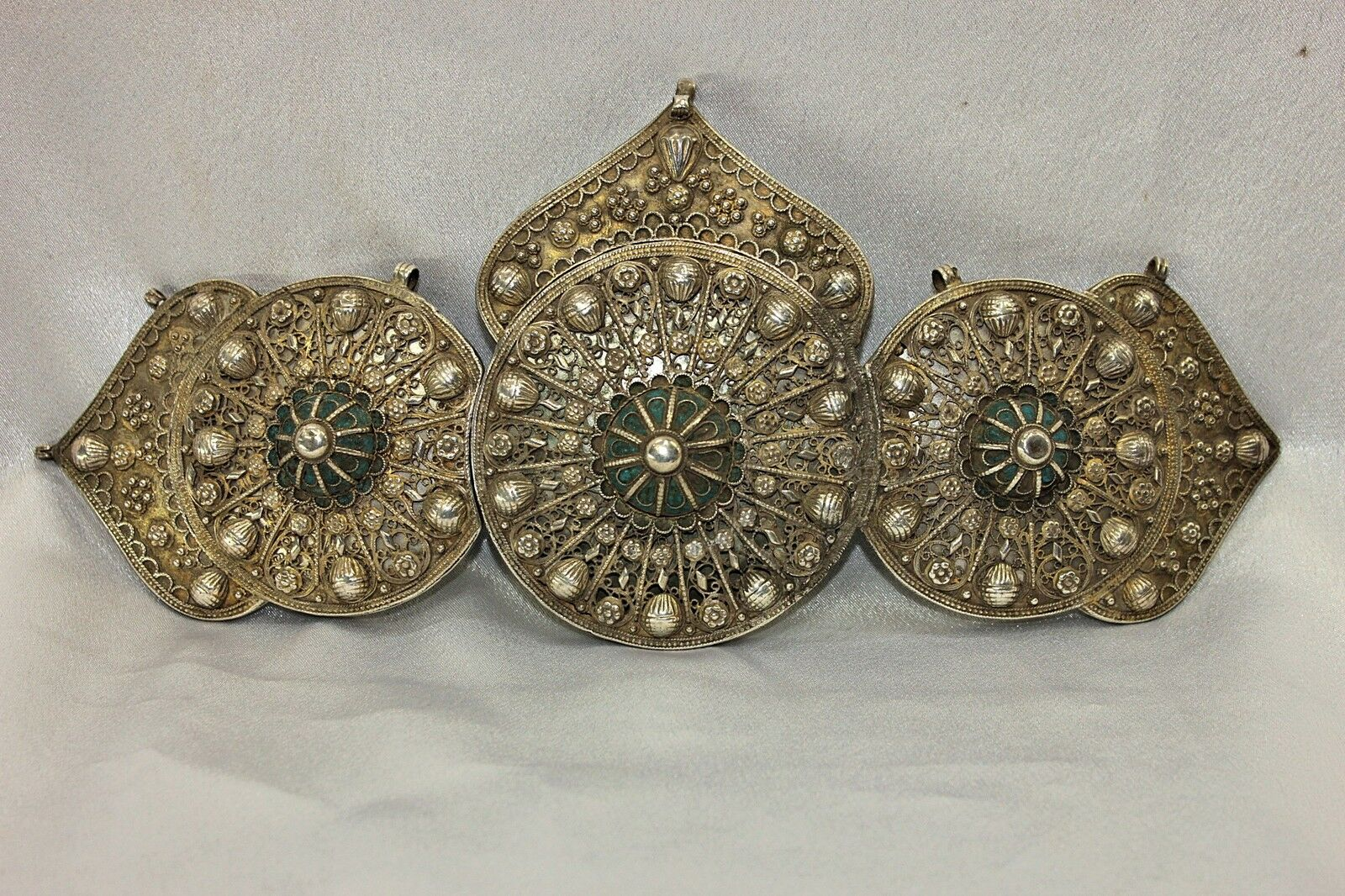 Antique Original Silver Enamel Big Ottoman Belt Buckle
