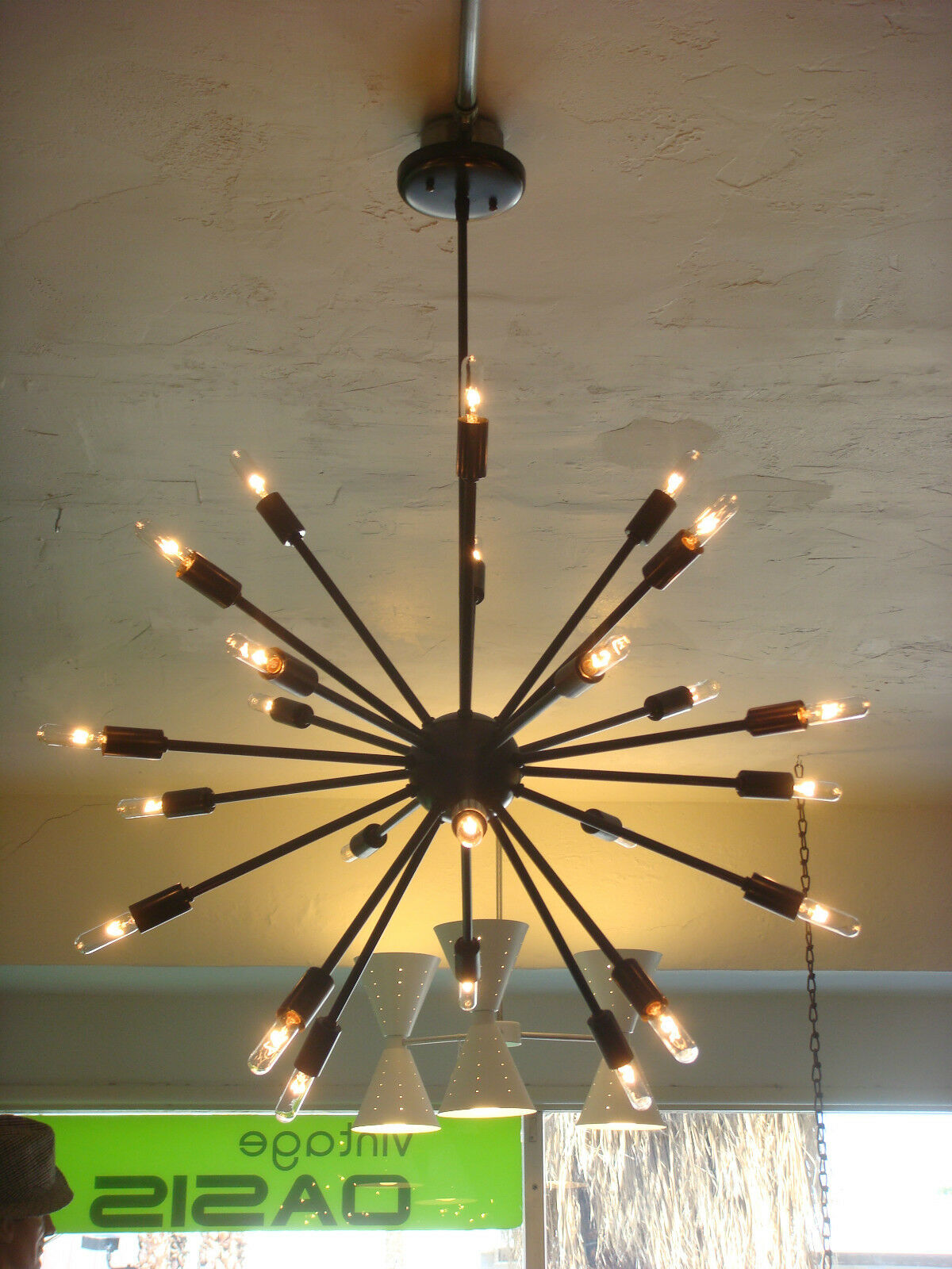 Oil rubbed bronze atomic sputnik starburst light fixture chandelier pendant lamp - Light fixture chandelier ...