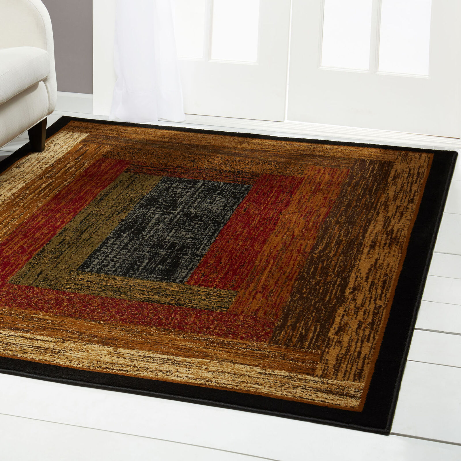 Red Green Beige Tan Bordered Modern Geometric Area Rug Contemporary Carpet 1 Of 6free Shipping