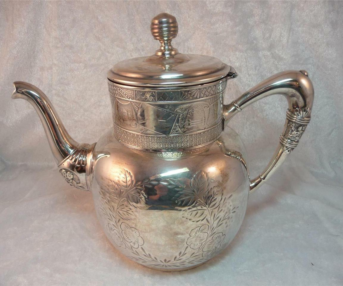 Antique Aesthetic Movement Silver Quadruple Plate Teapot