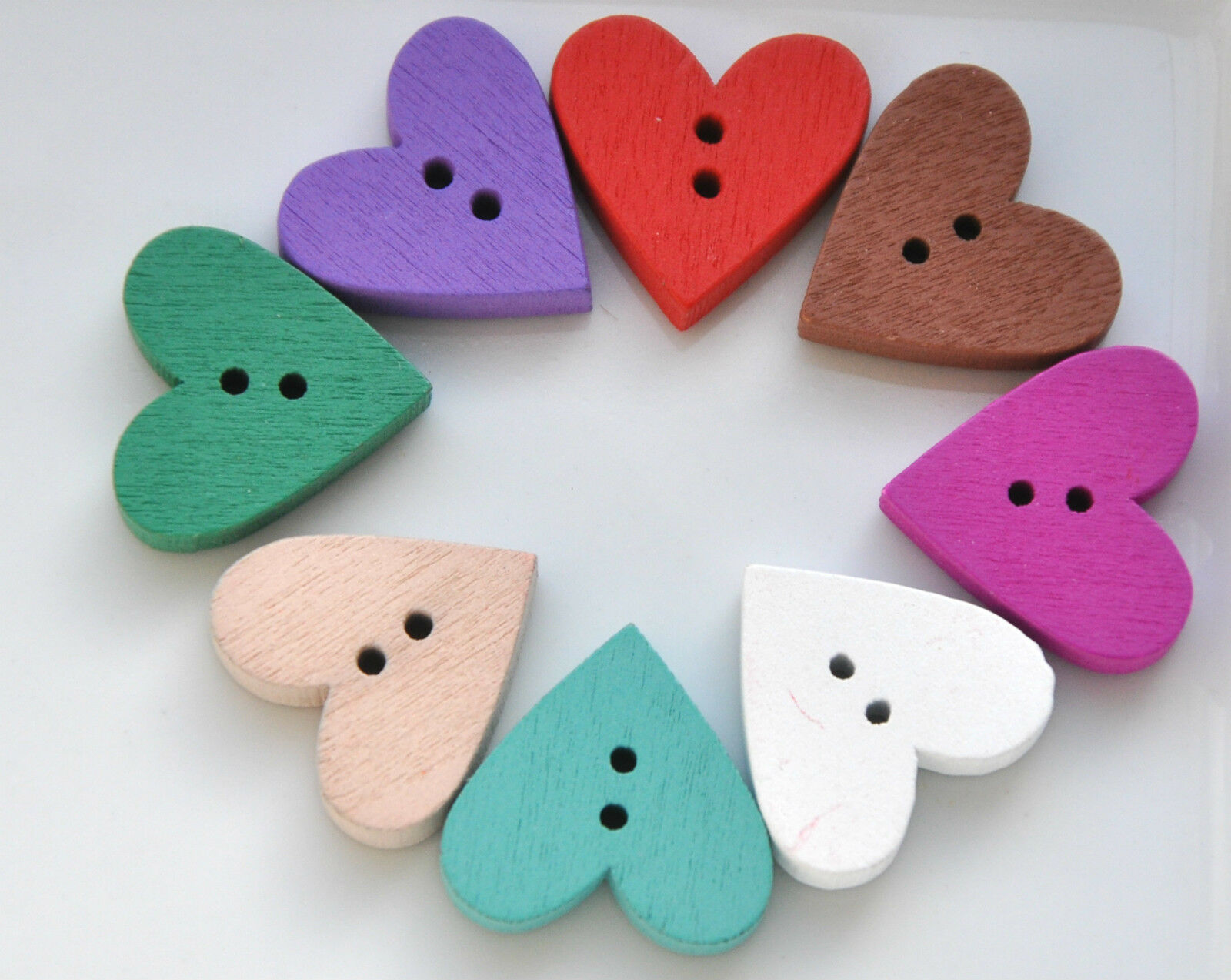 10 / 15 pieces  Wooden Heart Shaped Buttons  Choose your colour or mixed  20mm • £1 29
