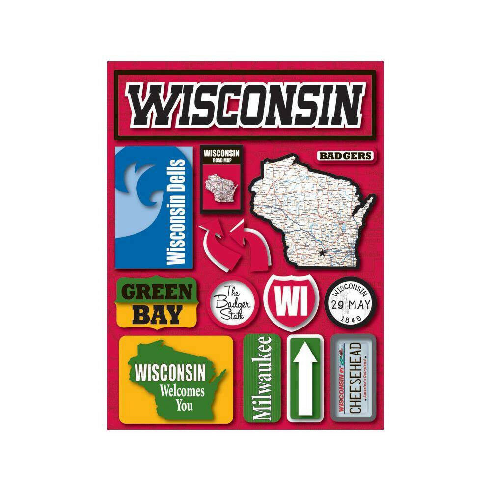 Reminisce Jet Setters Wisconsin State Dimensional Scrapbook Stickers