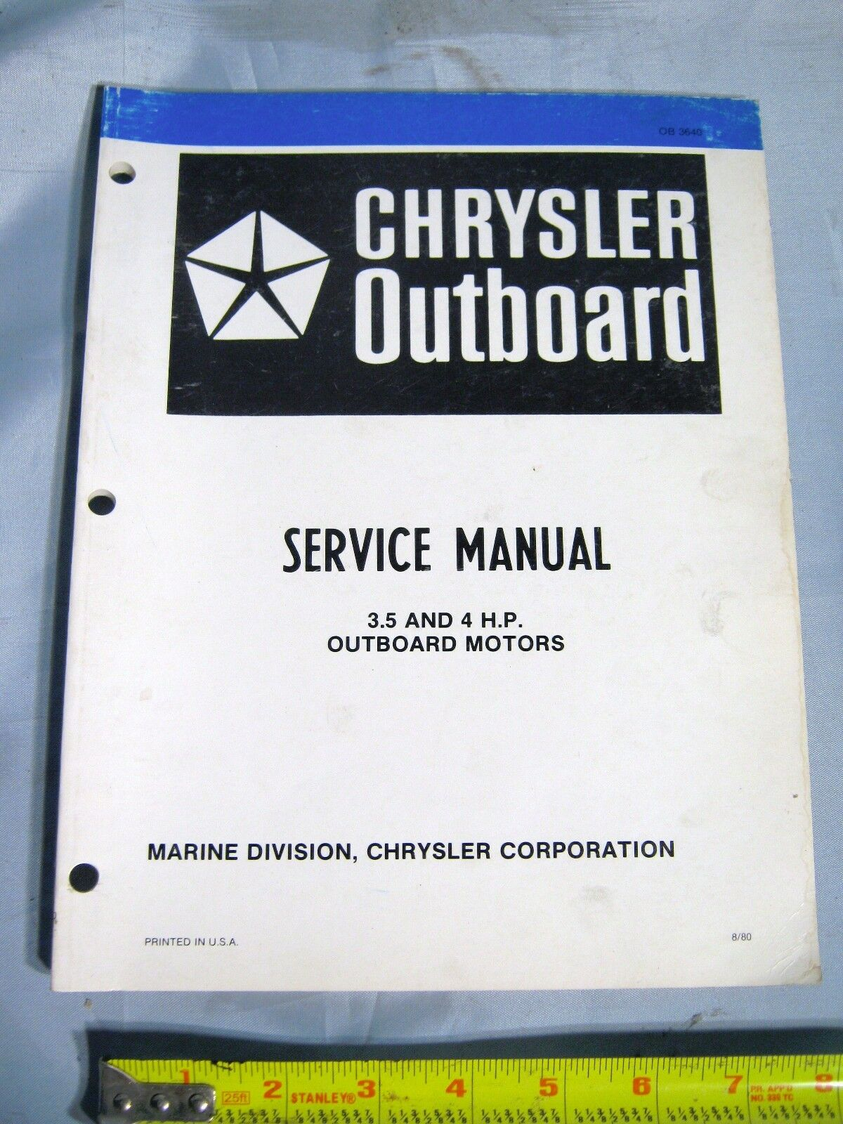 Chrysler Marine 3.5 HP & 4 HP Outboard Boat Motor Service Repair Manual, @  1980 1 of 1Only 1 available ...