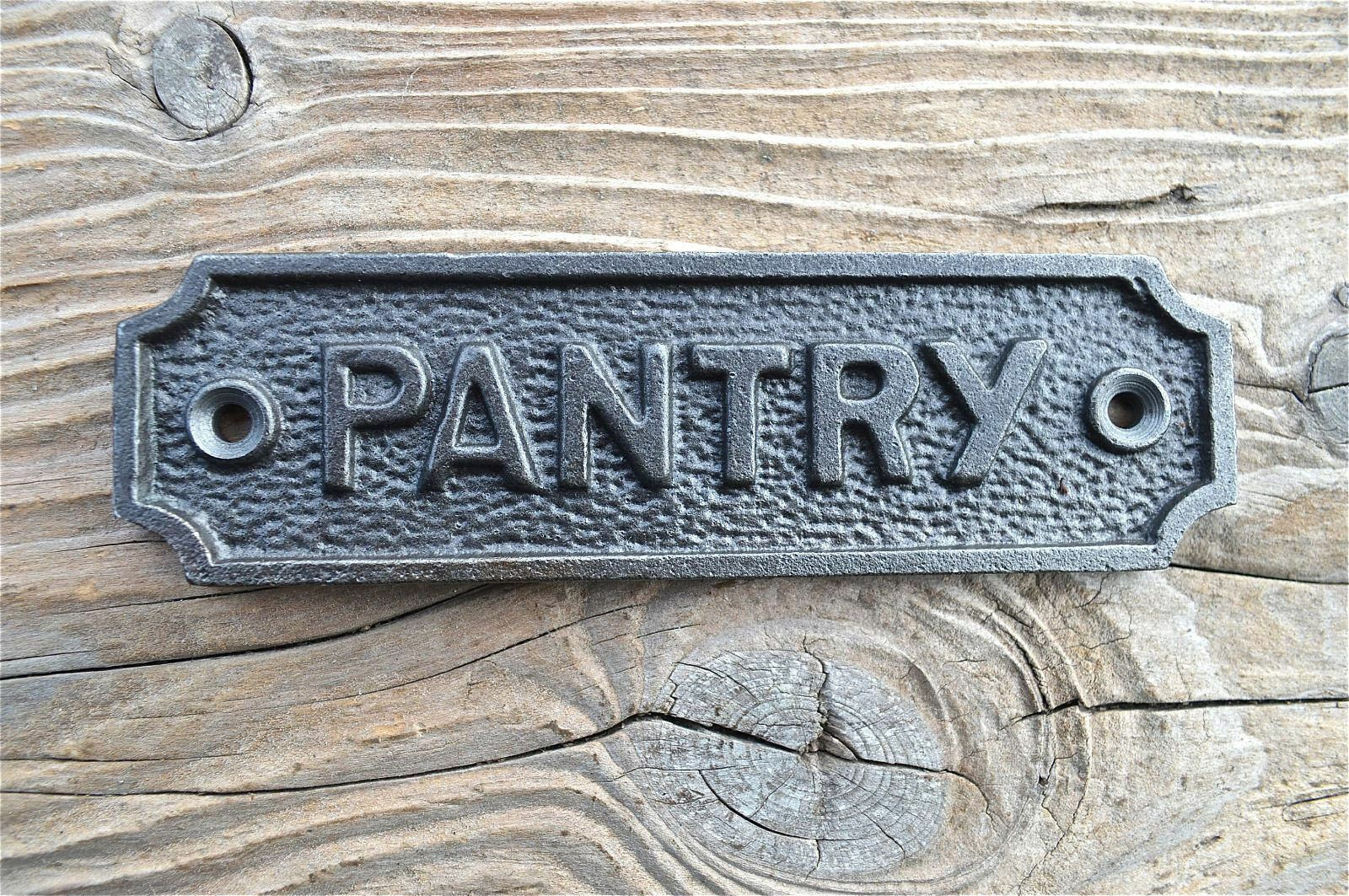 Lovely Vintage Style Cast Iron Sign Pantry Door Sign Plaque