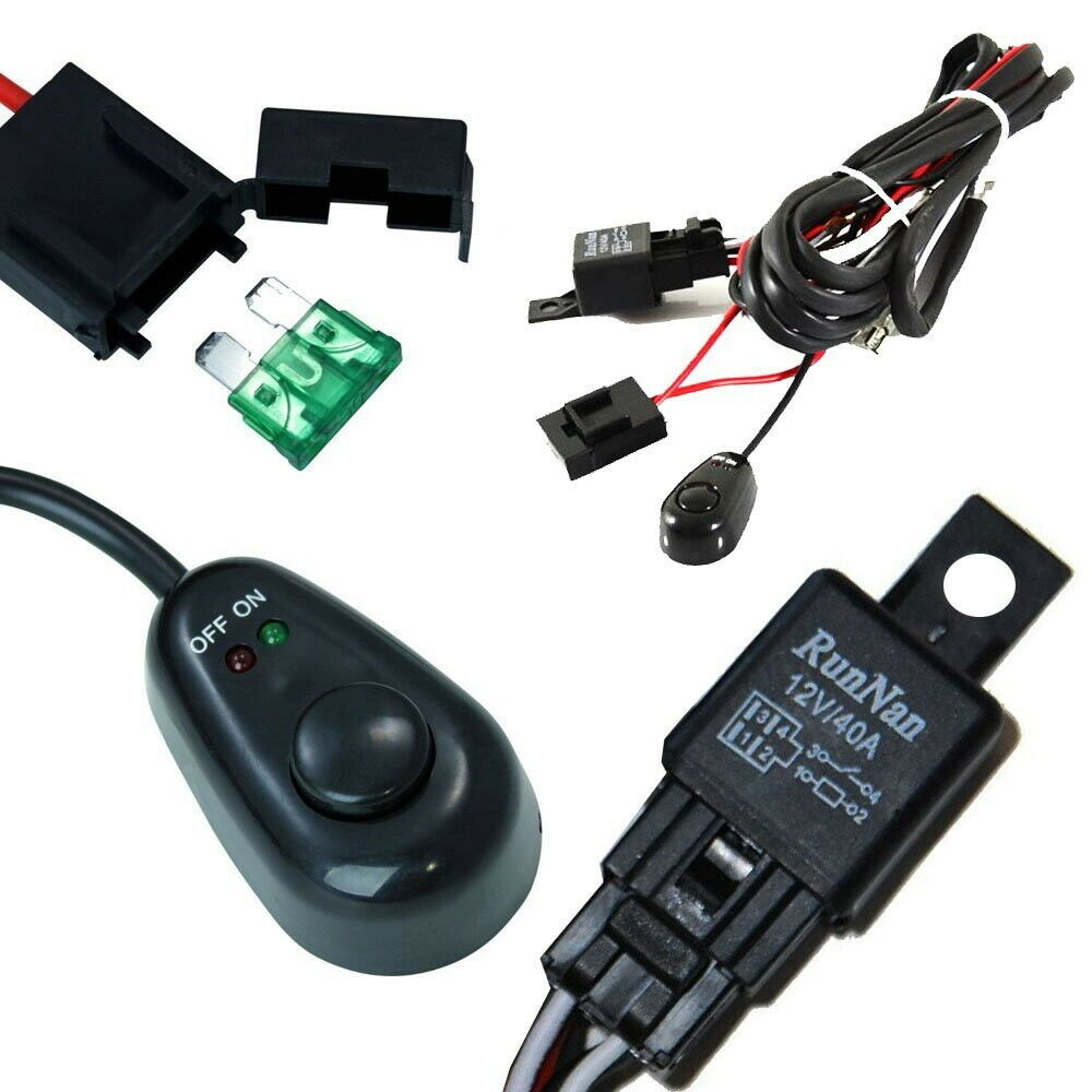 UNIVERSAL RELAY HARNESS Wire Kit + LED ON/OFF Switch For Fog Lights ...