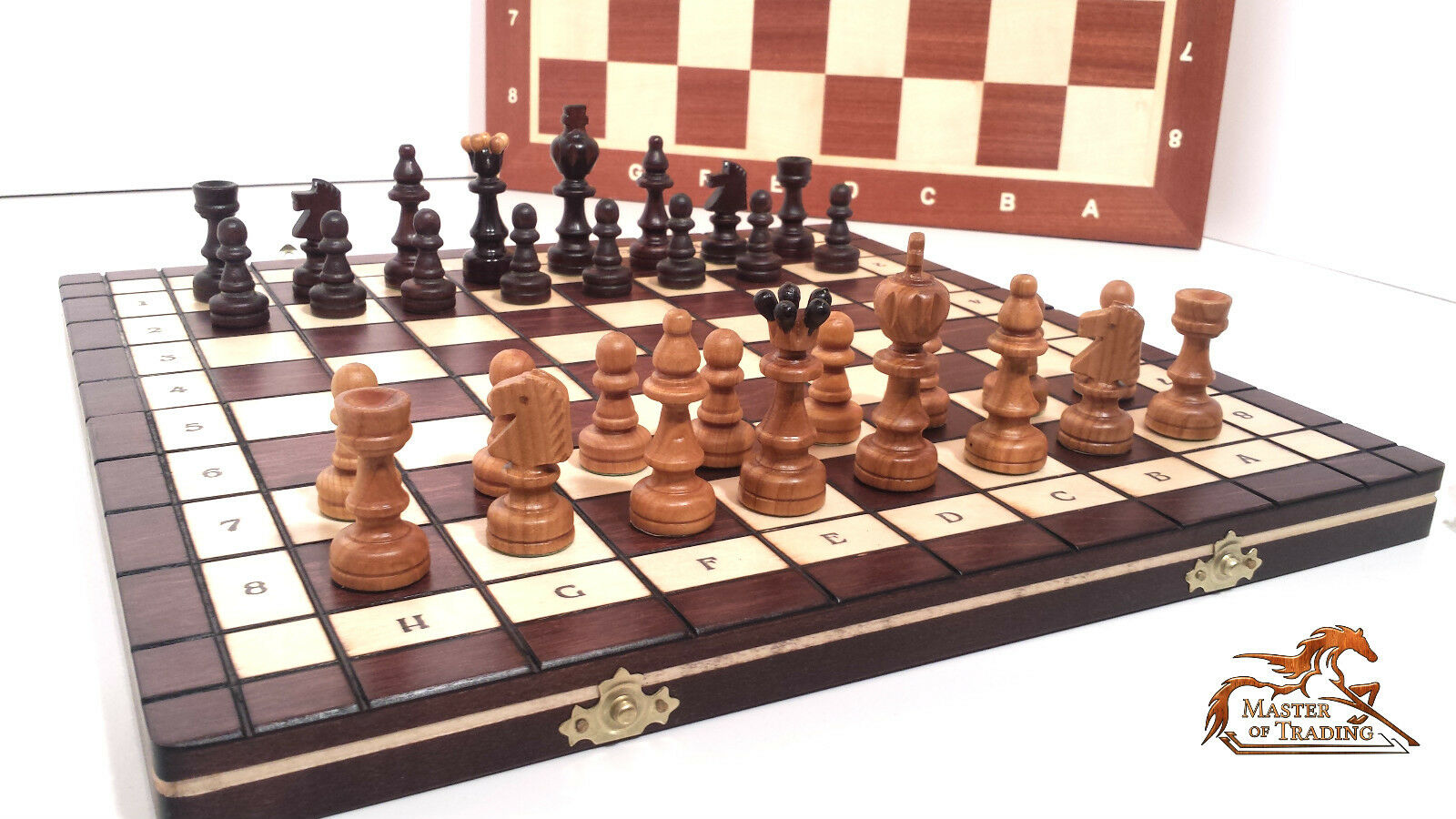 Large Unique Great Cherry Wooden Chess Set Hand Crafted