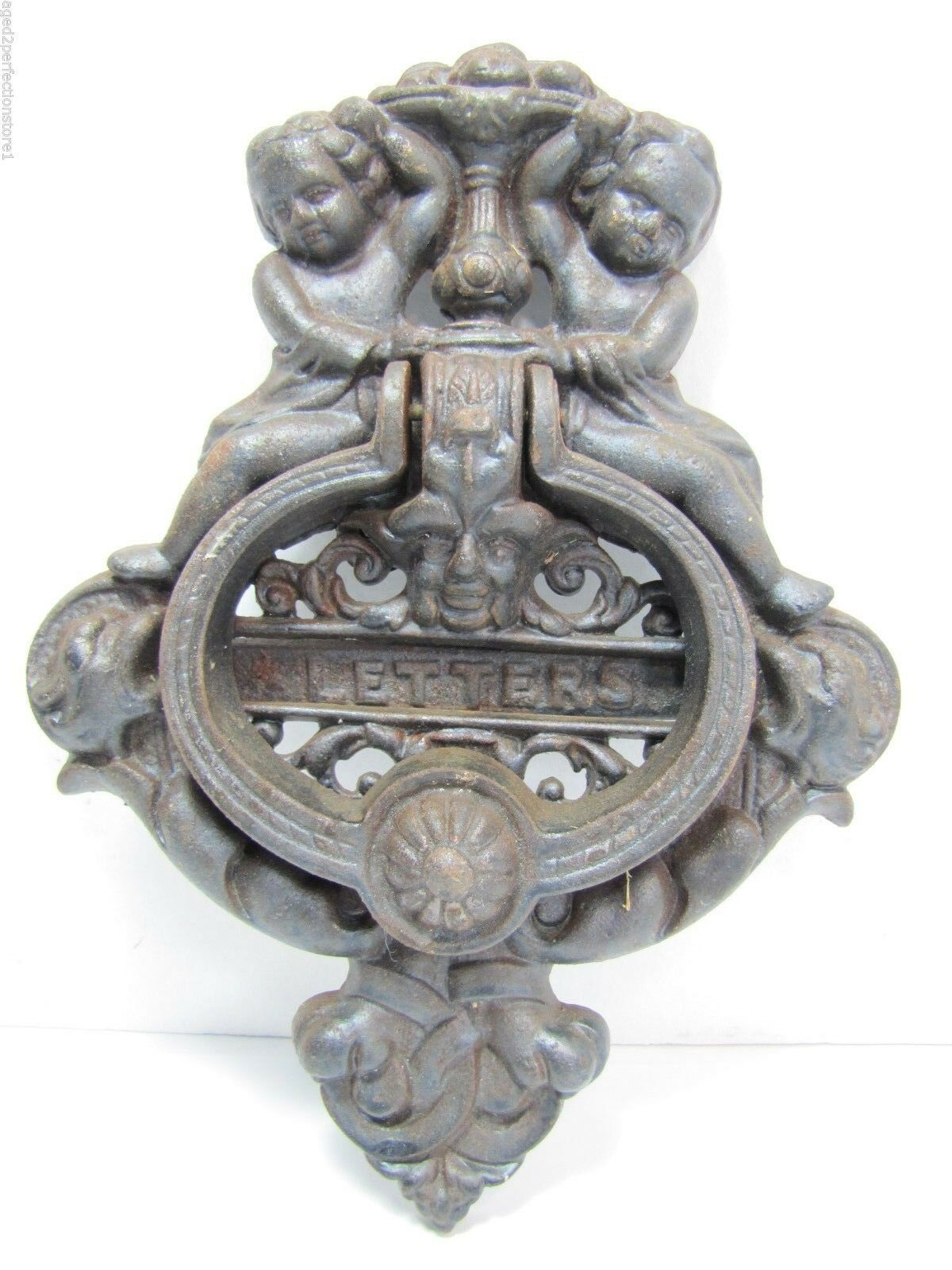 Vintage Cast Iron Figural Door Knocker Letters Mail Slot lrg ornate art nouveau