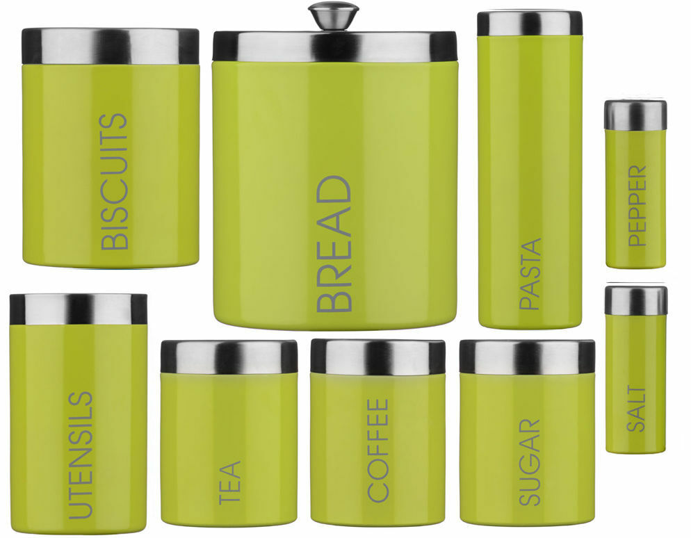 Lime Green Enamel Storage Canisters Set Tea Coffee Sugar Biscuits S P Or More 1 Of 1free Shipping