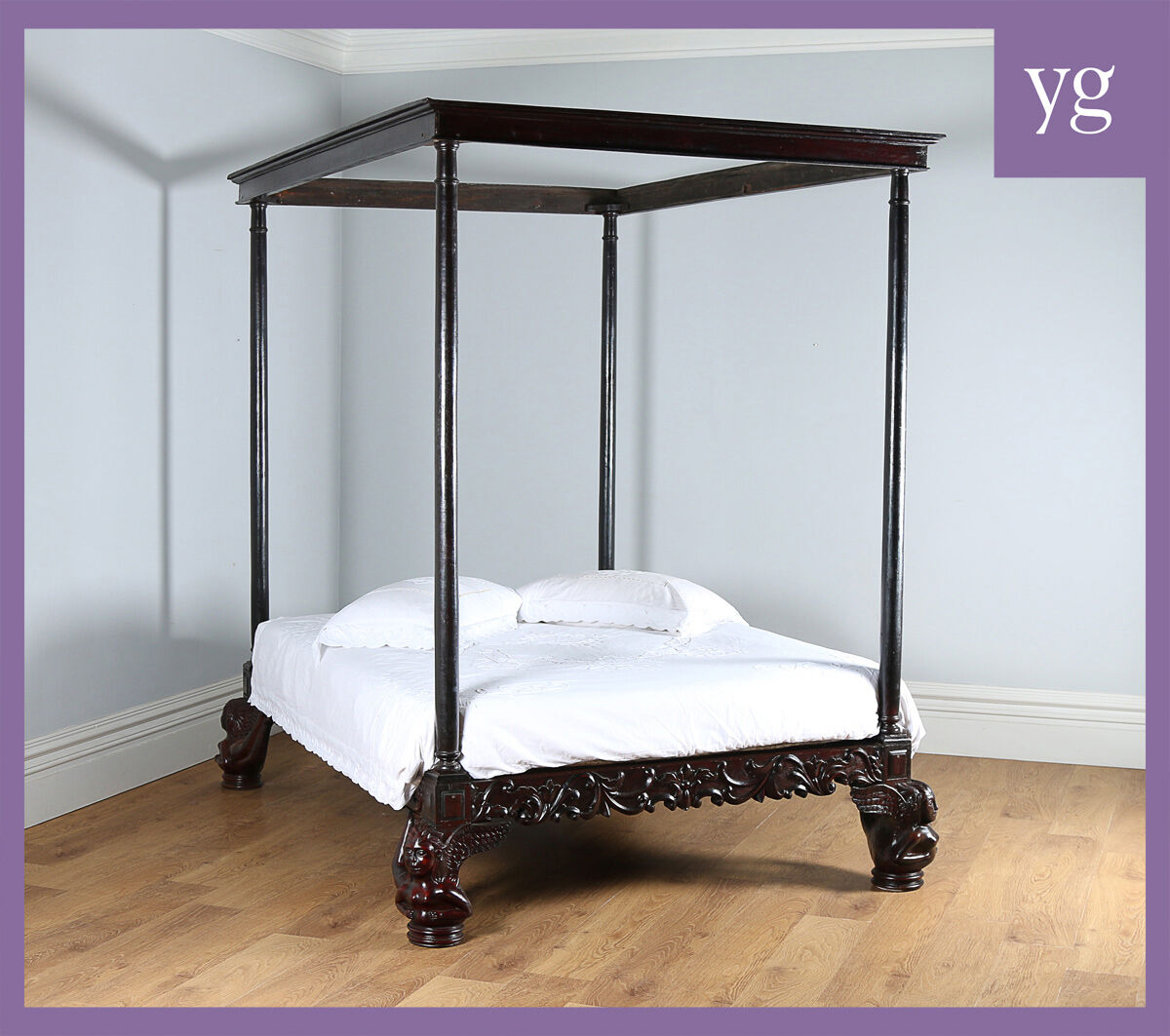 Antique Colonial Raj Four Poster Post Double Queen Super King Size Day Bed c1800