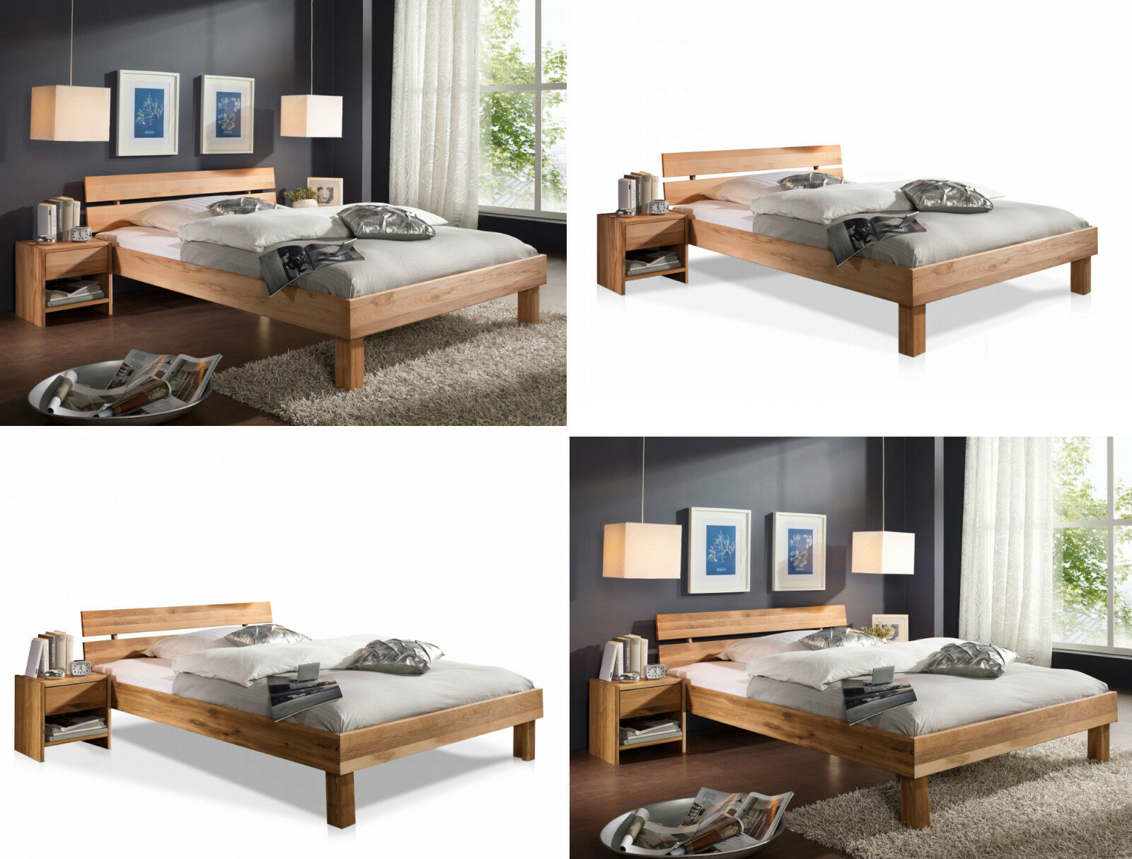 bett mit kopfteil holz massiv holzbett 100 140 160 180 x 200 cm eiche buche chf. Black Bedroom Furniture Sets. Home Design Ideas