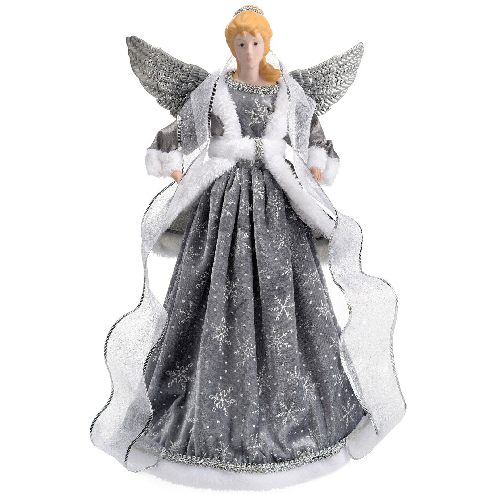 Angel decoration christmas tree top topper silver 44cm for Angel christmas tree decoration