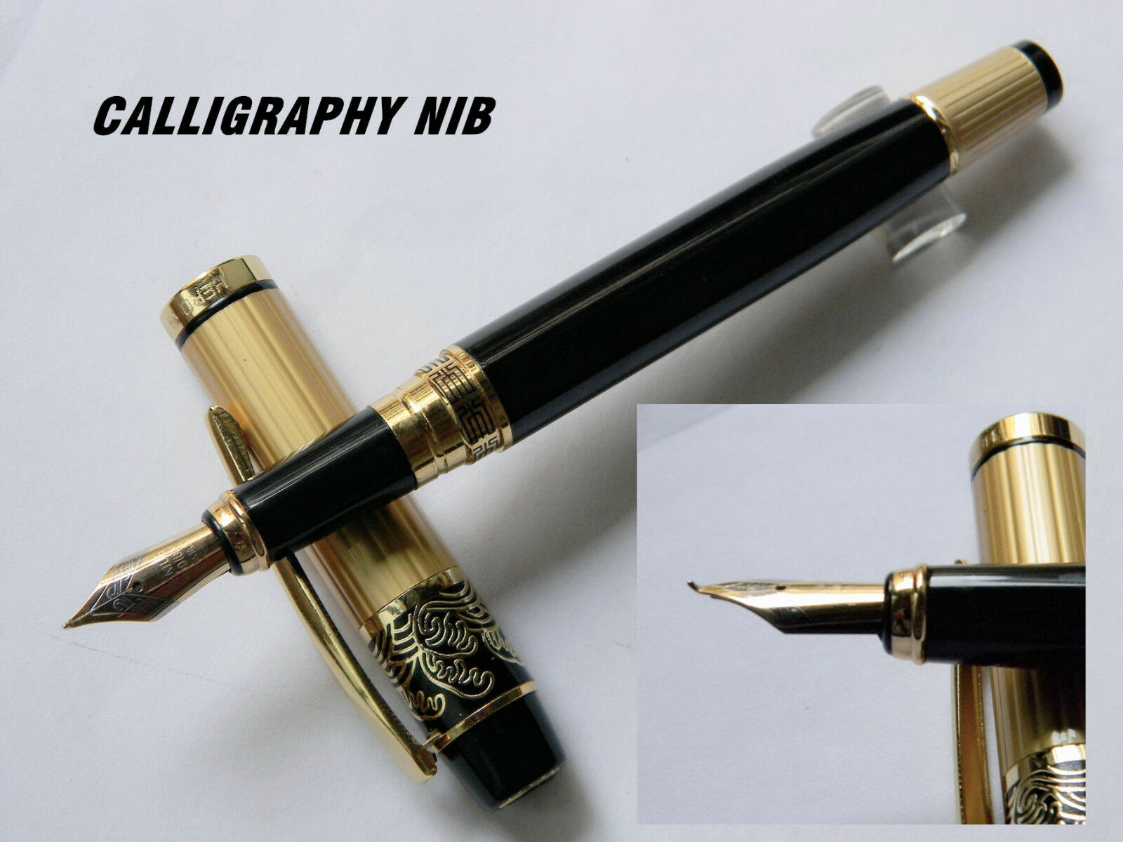 Hero 901 Fountain Pen Gold Black Calligraphy Nib N