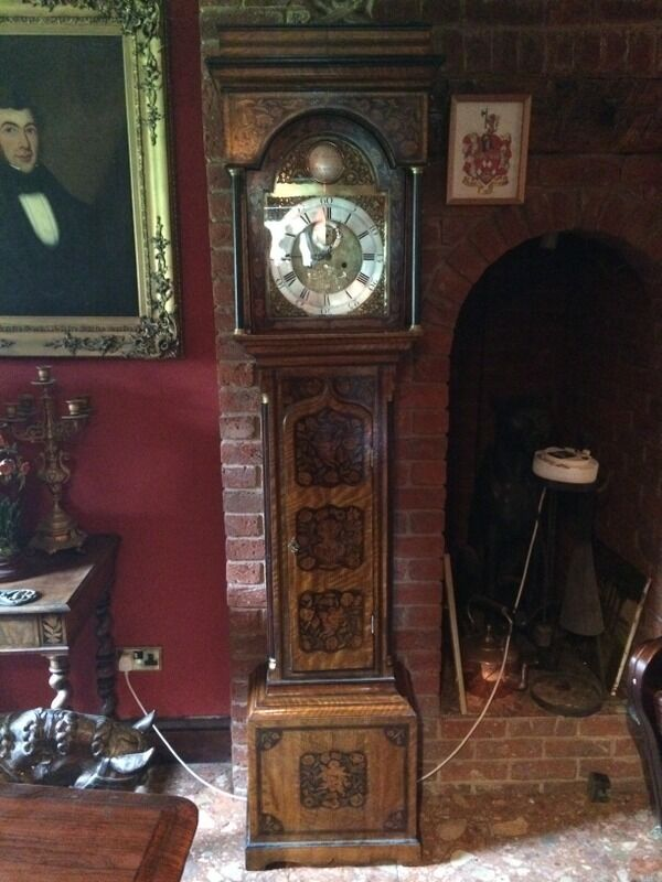 Antique Marquetry English Longcase Grandfather Clock 8 Day Museum Quality