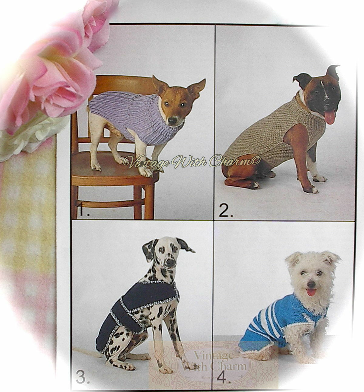 VINTAGE PATTERN (COPY) Dog Coats, 3 Styles Knitted, 1 Crochet For ...