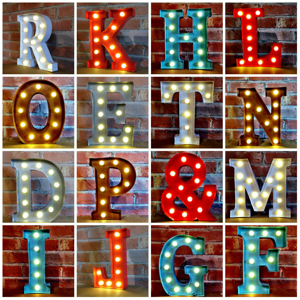 metal led 12 marquee letter lights vintage circus style alphabet light