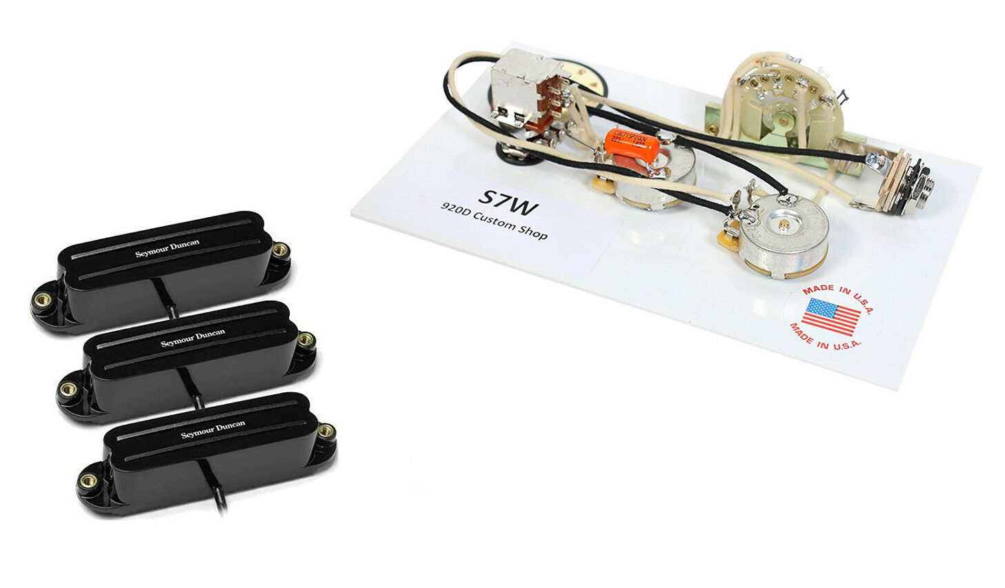 Duncan Cool Vintage Hot Rails Guitar Pickup Set Black 7 Way Custom Wiring Harness 1 Of 3only 0 Available