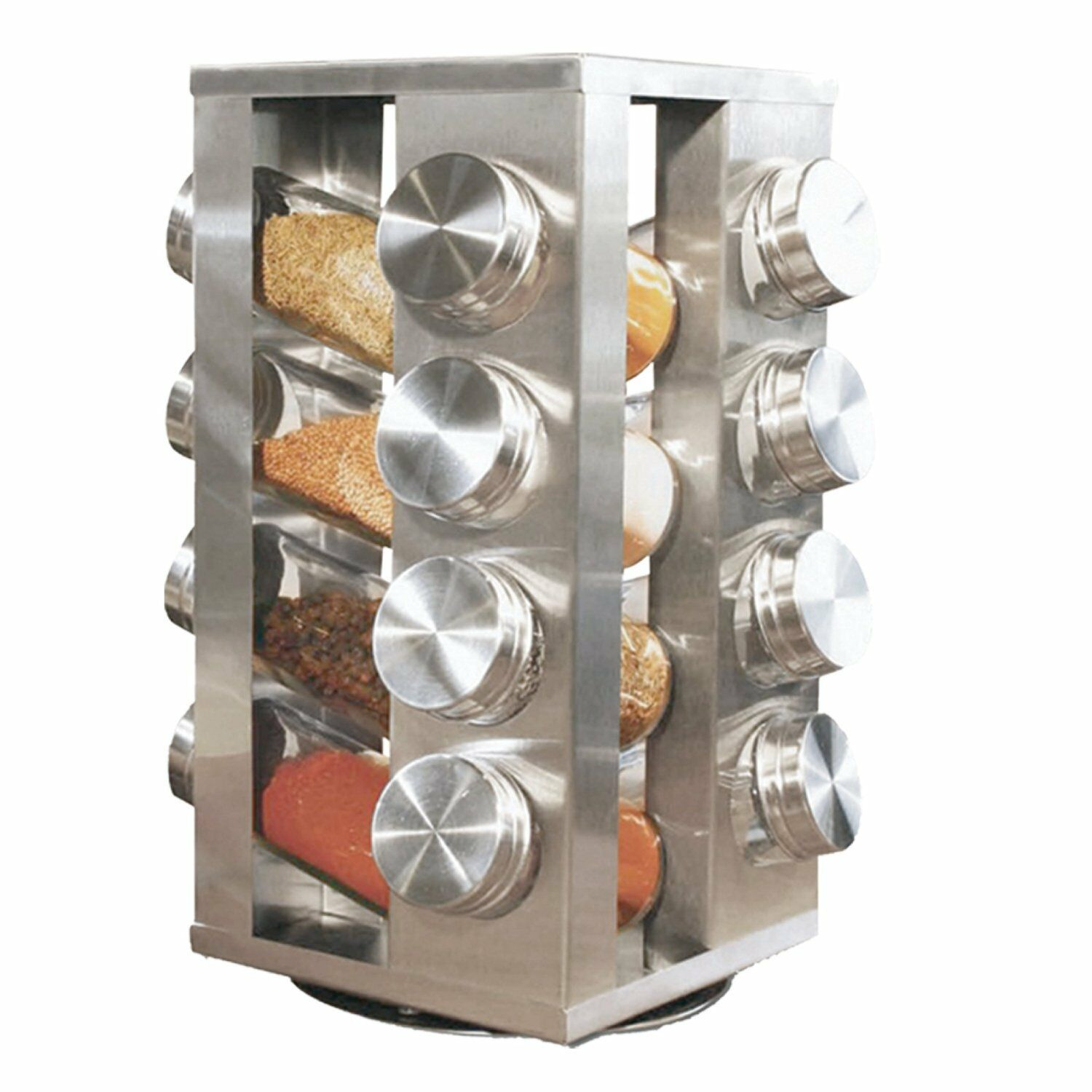 New Stainless Steel 16 Jar Revolving Spice Rack Stand