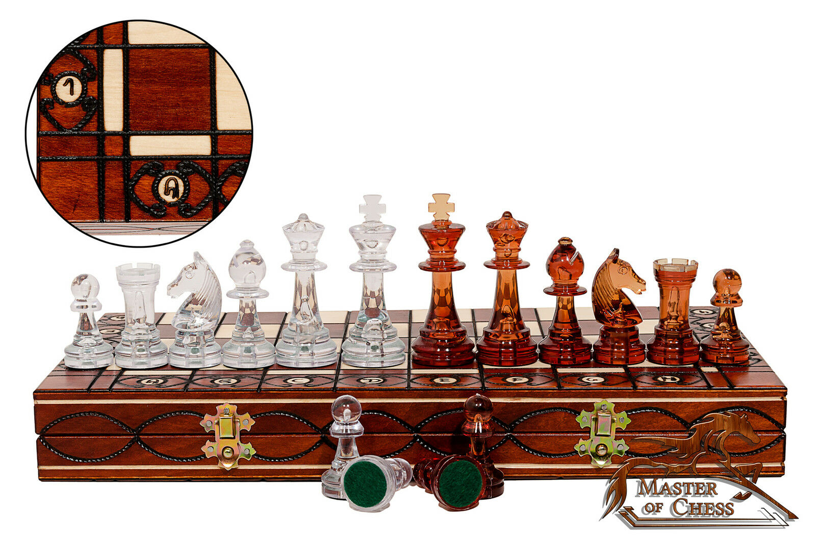 Amber Decorative Chess Set 41cm Stunning Chessboard And