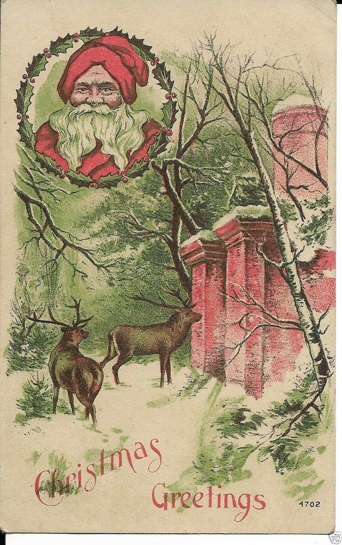 EARLY SANTA CHRISTMAS card dated 1909 - $12.00 | PicClick
