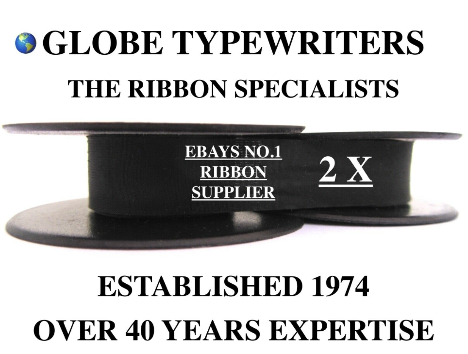 2 x SILVER REED LEADER I & II *BLACK* TOP QUALITY *10 METRE* TYPEWRITER RIBBONS