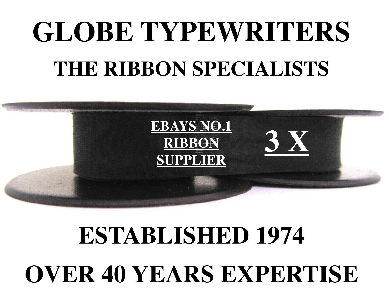 3 x SILVER REED WHS GREY FOX *BLACK* TOP QUALITY *10M TYPEWRITER RIBBONS+EYELETS