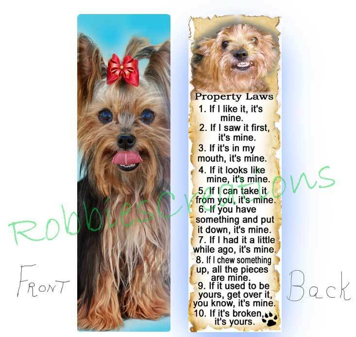 YORKSHIRE TERRIER BOOKMARK Yorkie Dog RULES Property Law Book Art ...