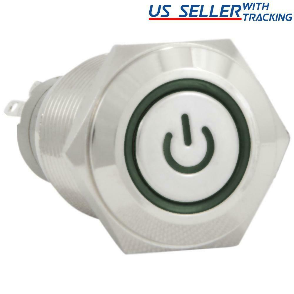 16mm 12v Latching Push Button Power Switch Stainless Steel Green Led 5pcs Lot 3a 250v Off On 1 Circuit Non Locking Waterproof Of 5free Shipping See More
