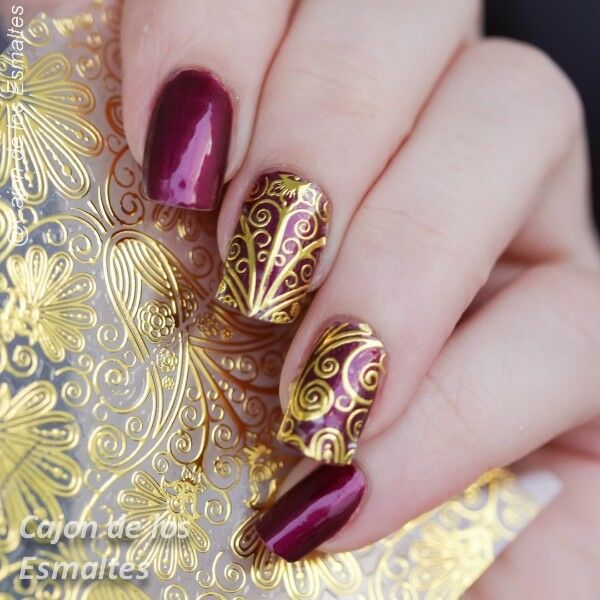 3D NAIL Art Stickers Tattoos Gold Embossed Flower Nail Decals ...