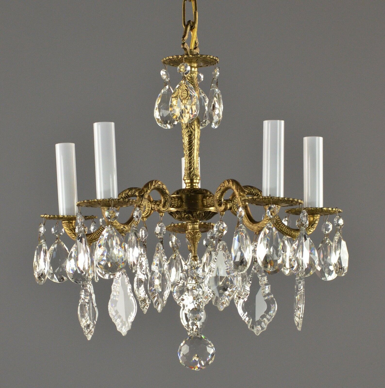 Spanish Brass & Crystal Chandelier c1950 Vintage Antique Ceiling French Style