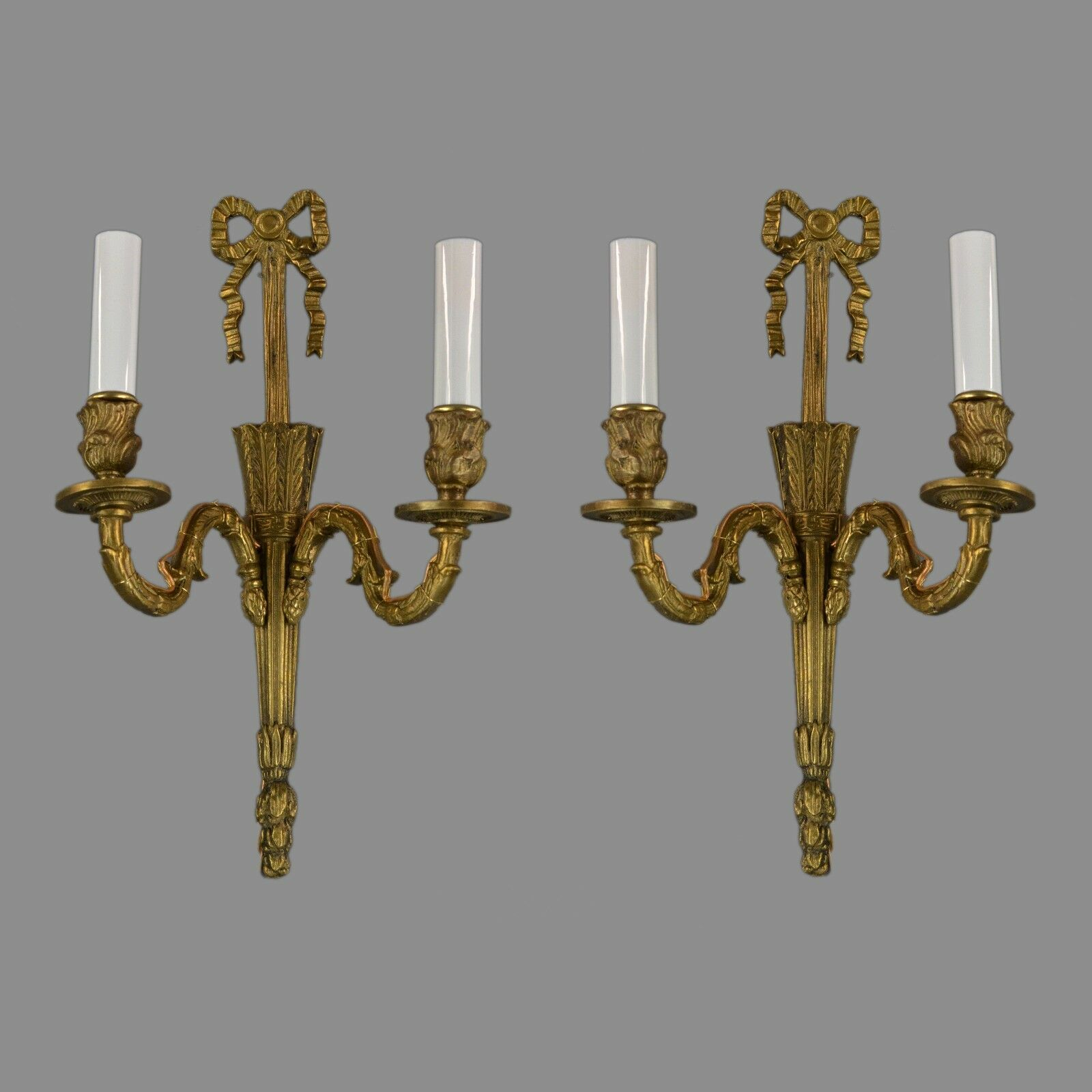 Brass Regency Wall Sconces c1950 Antique Vintage Italian Ornate Gold Gilt French