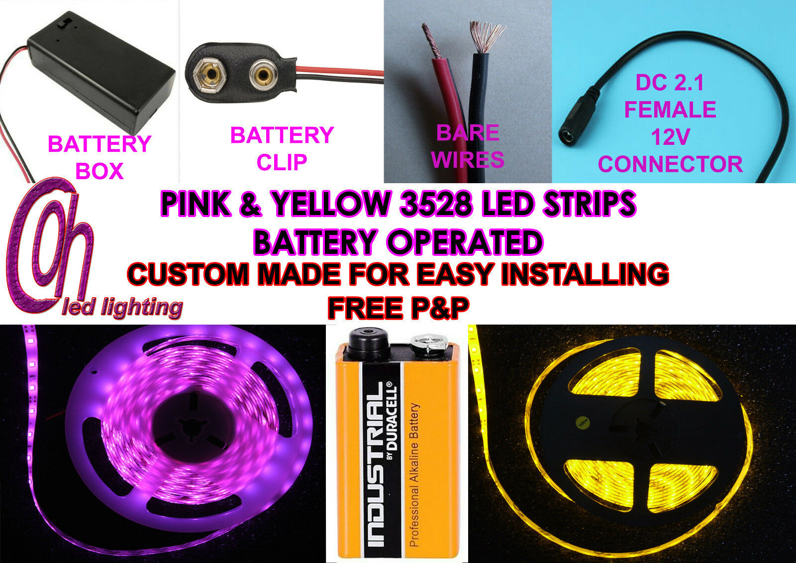 Aquarium Hood Yellow And Pink Led Strip Lights 9V Pp3 Battery Operated