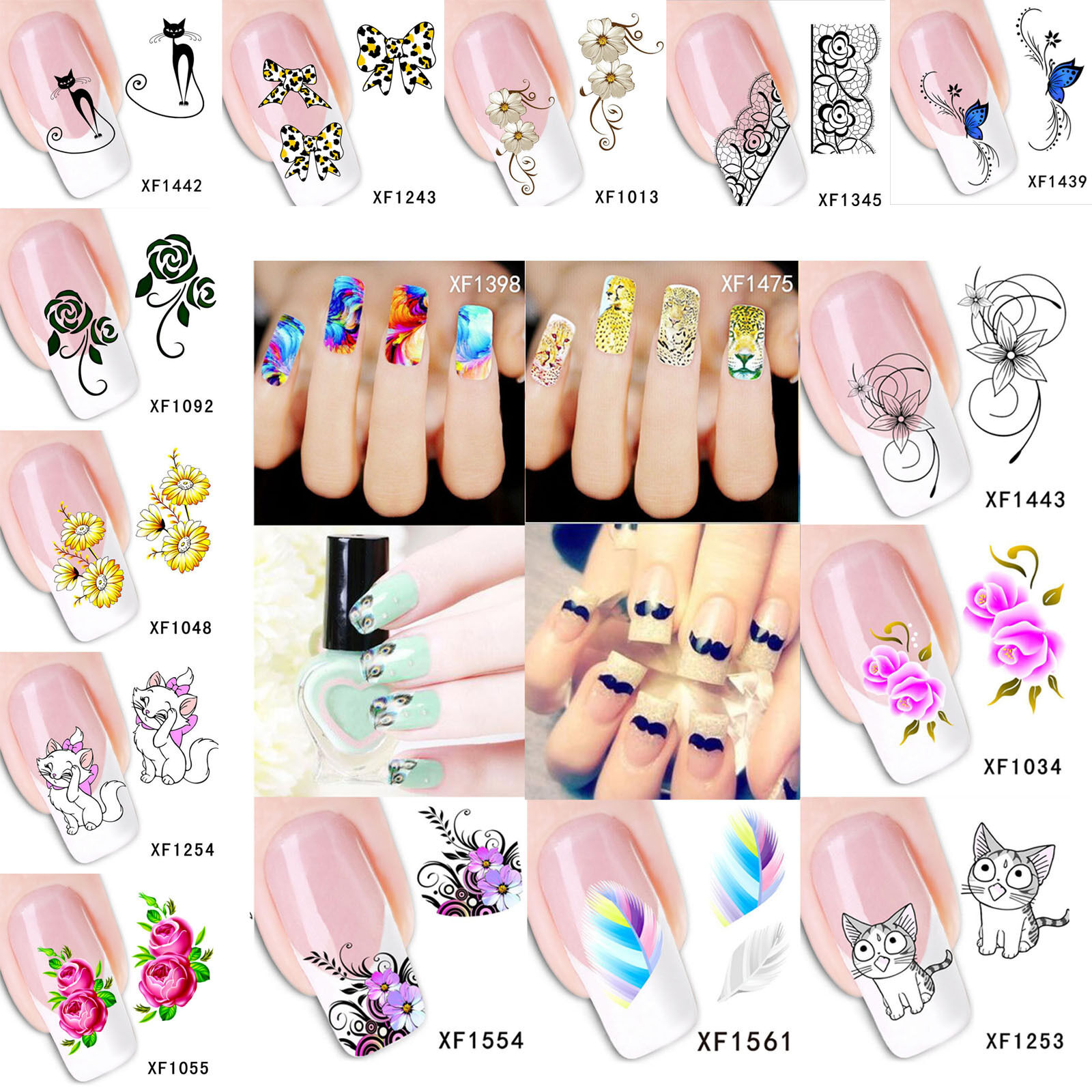 NAIL ART STICKER Water Transfer Stickers Flower Decals Tips 3D Nail ...