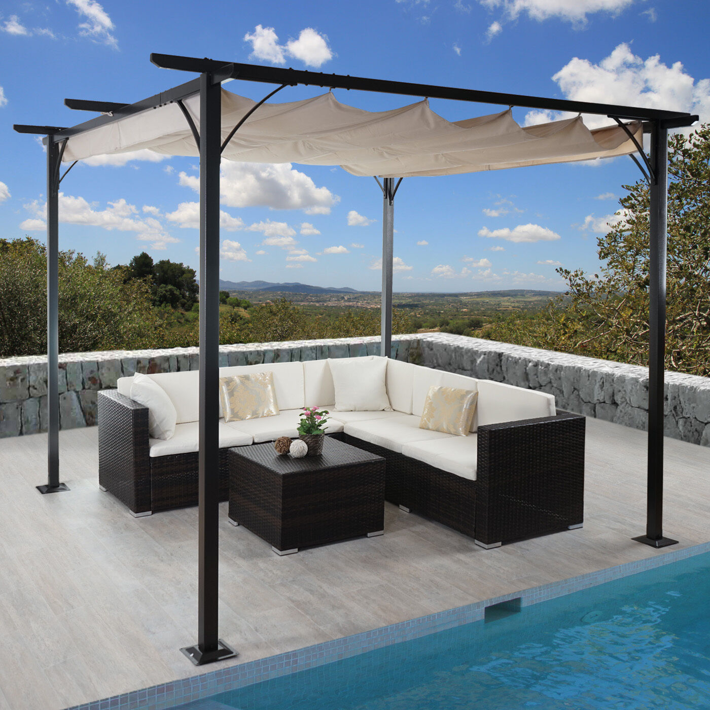 3x3 m pavillon garten pergola sonnenschutz terrassen berdachung sonnensegel mal eur 259 00. Black Bedroom Furniture Sets. Home Design Ideas