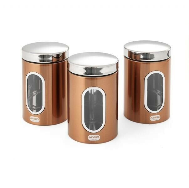 Silver Tea Coffee Sugar Canisters >> TEA COFFEE SUGAR Canister Jars Silver Copper Air Tight Lid Stainless Steel - £16.77   PicClick UK