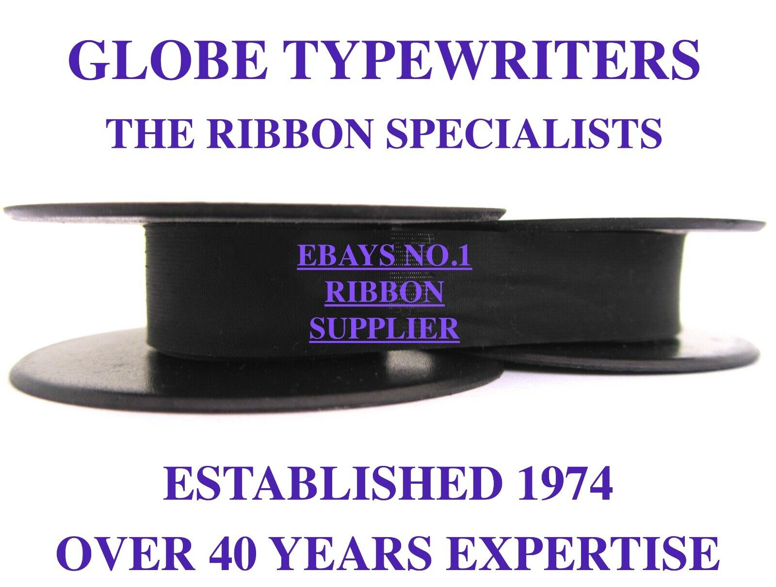 1 x 'BEAUCOURT SCRIPT' *PURPLE* TOP QUALITY *10 METRE* TYPEWRITER RIBBON+EYELETS