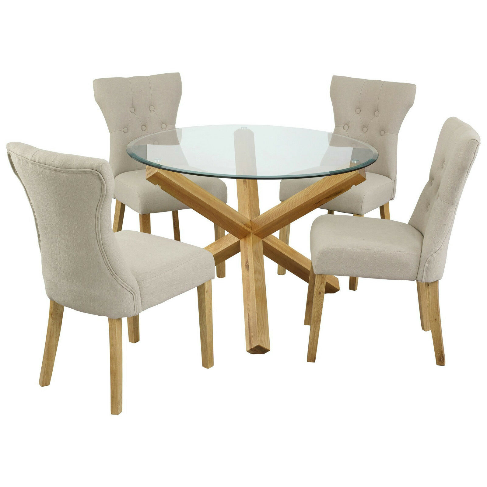Oporto Saturn Solid Oak and Glass Dining Table Round  : Oporto Saturn Solid Oak and Glass Dining Table from picclick.co.uk size 1600 x 1600 jpeg 171kB