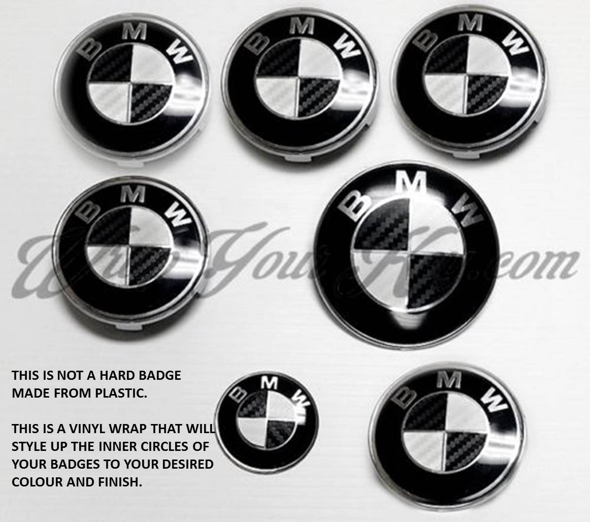 White Amp Black Carbon Fiber Bmw Badge Emblem Overlay Hood