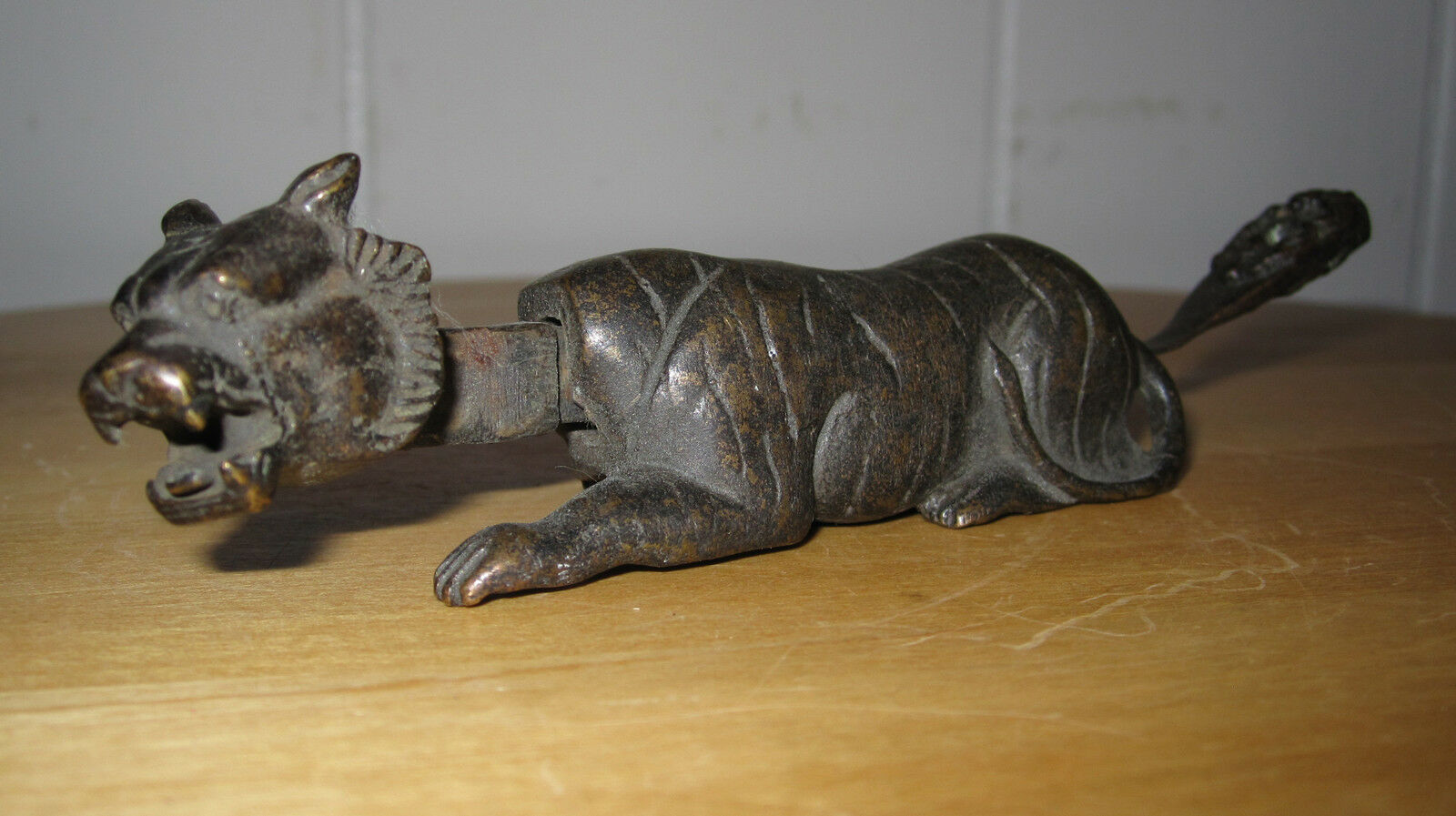 Antique Tiger Door Lock Possibly Chinese Articulated Head Interior Decorate