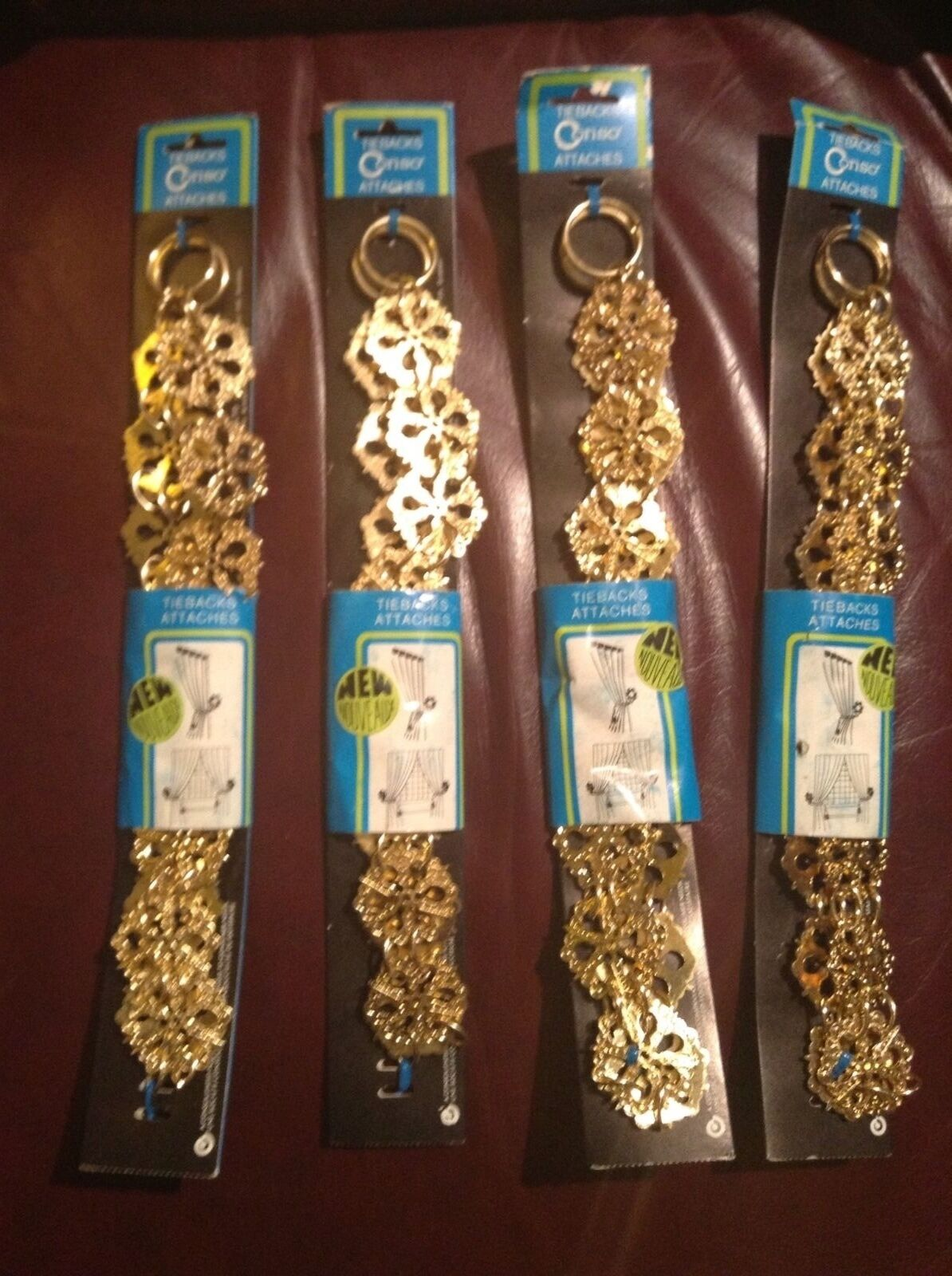 TWO Vintage Brass/Gold Metal Drapery Curtain CONSO TIE BACK Hook Chain NIP STAR