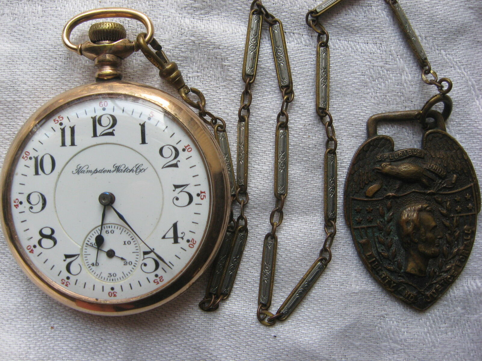 1903  Gold Pocket Watch...chain And Fob /// Perfect Movement / 17 Jewels.