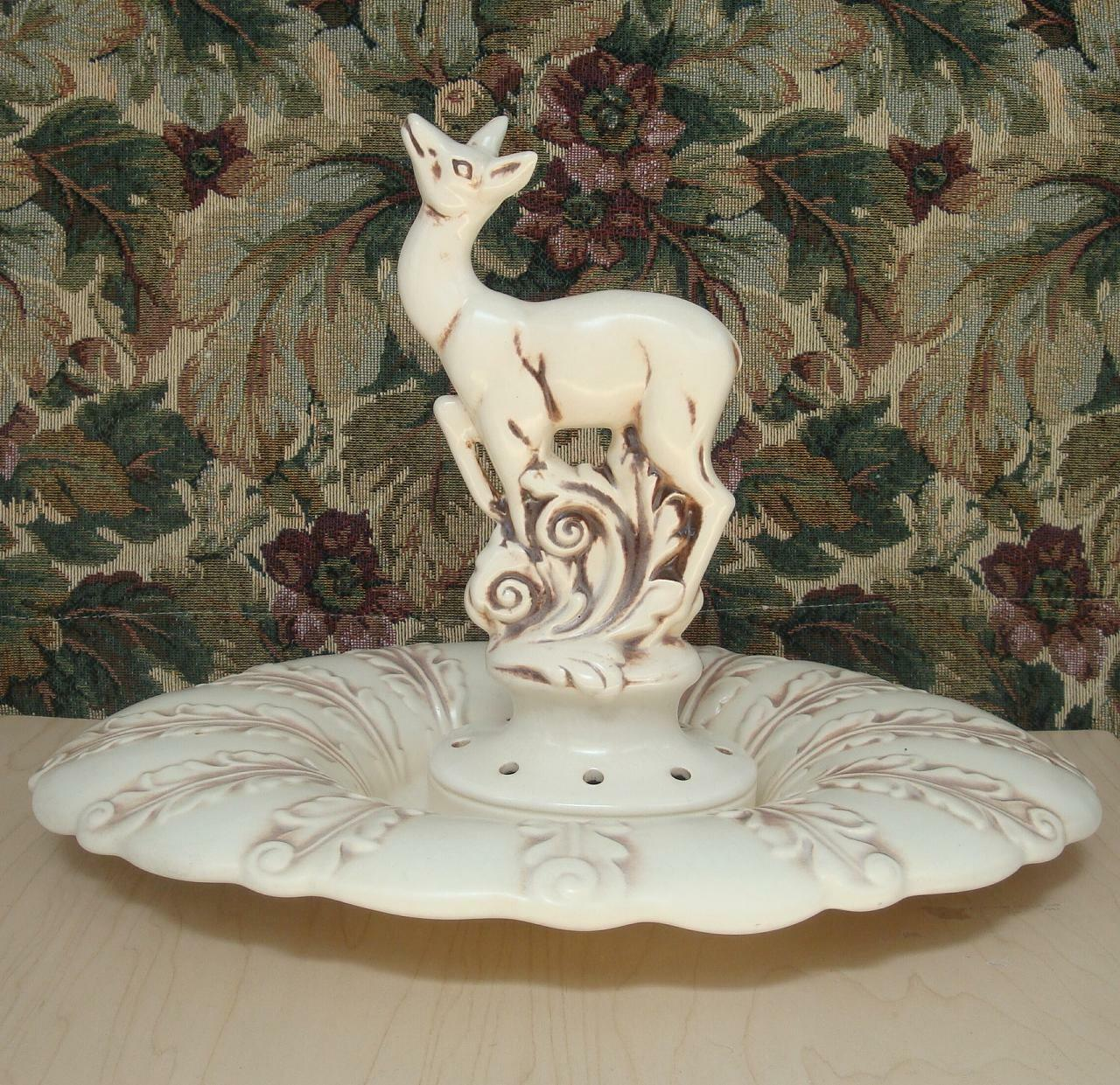 Red wing deer flower frog w console bowl acanthus pattern