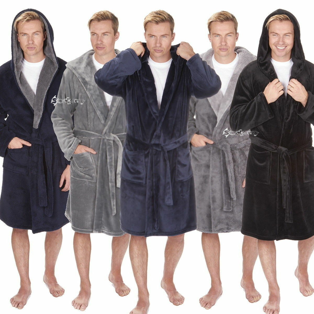 MENS LUXURY FLEECE Super Soft Dressing Gown Hooded Robe King Size ...