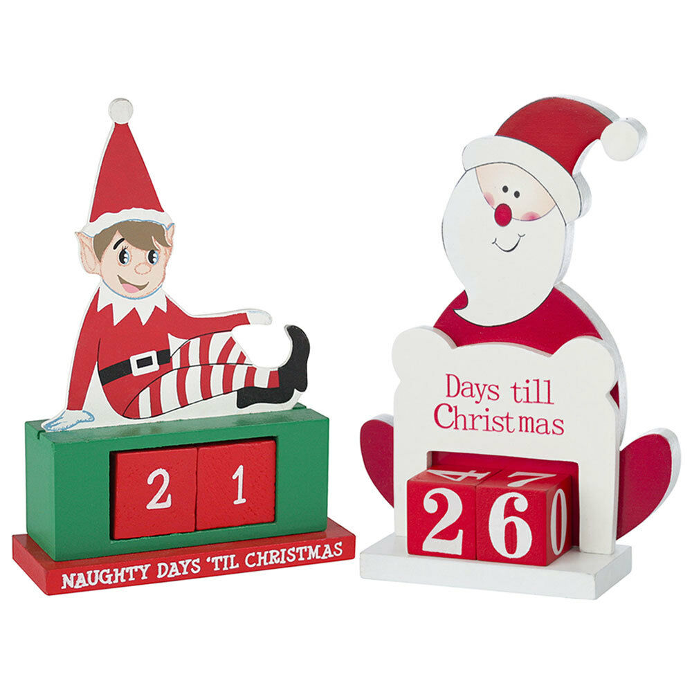 wooden advent countdown calendar santa days till til christmas decoration elf - Countdown Till Christmas Decoration