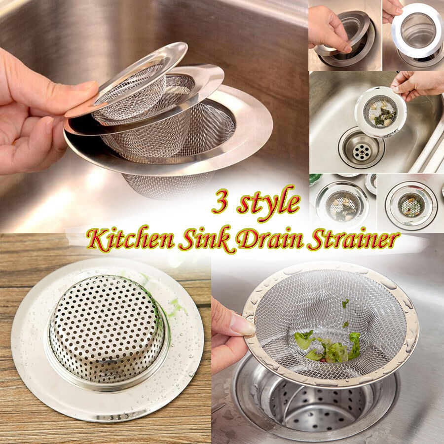 3 style home kitchen sink drain strainer stainless steel mesh basket strainer - Kitchen Sink Drain Strainer