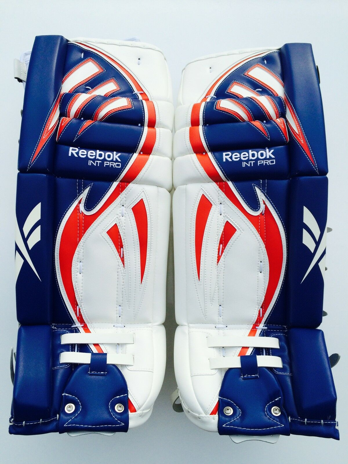 Reebok Larceny Pro goalie leg pads 30 +1 red white blue int hockey goal pad  new • $349 99