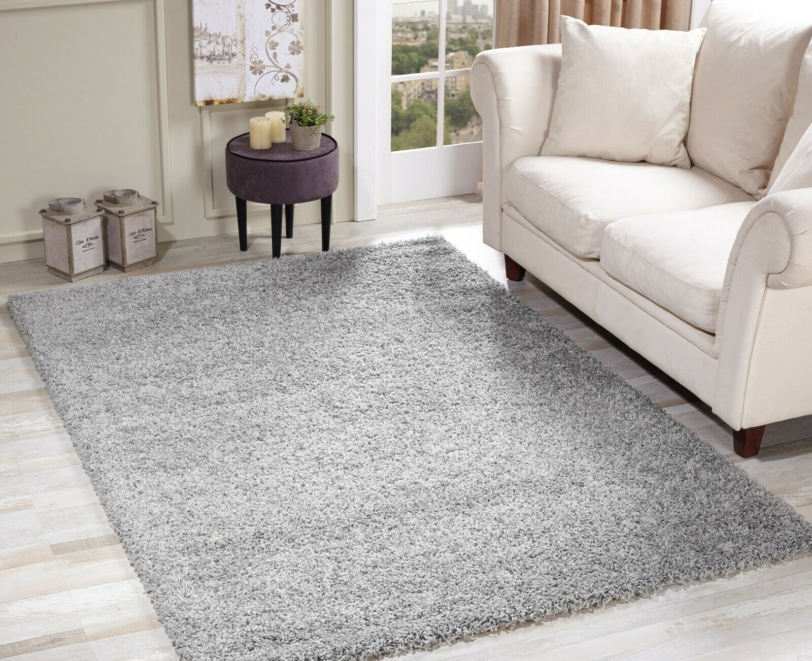 Modern soft shaggy rug 5cm thick pile plain small extra for Thick area rugs sale