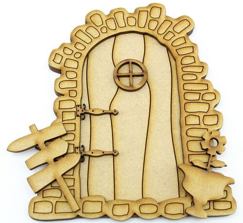 Mdf fairy door kit a pack of 5 elf house laser cut mdf for Fairy door kits canada