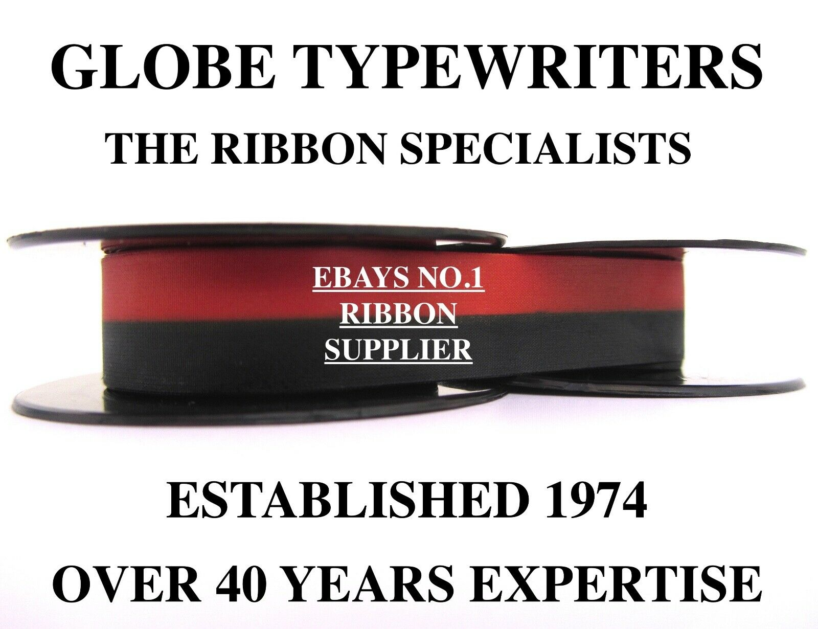 Imperial Fleetwood *black/red* Top Quality *10 Metre* Typewriter Ribbon+Eyelets