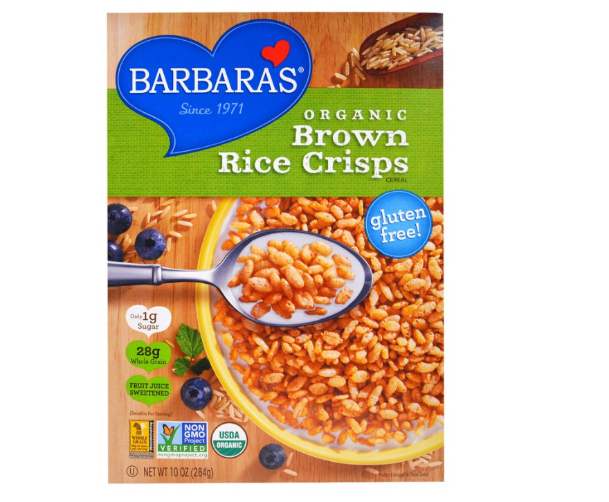 New Barbara's Bakery Organic Brown Rice Crisps Cereal Food Snack Breakfast Daily