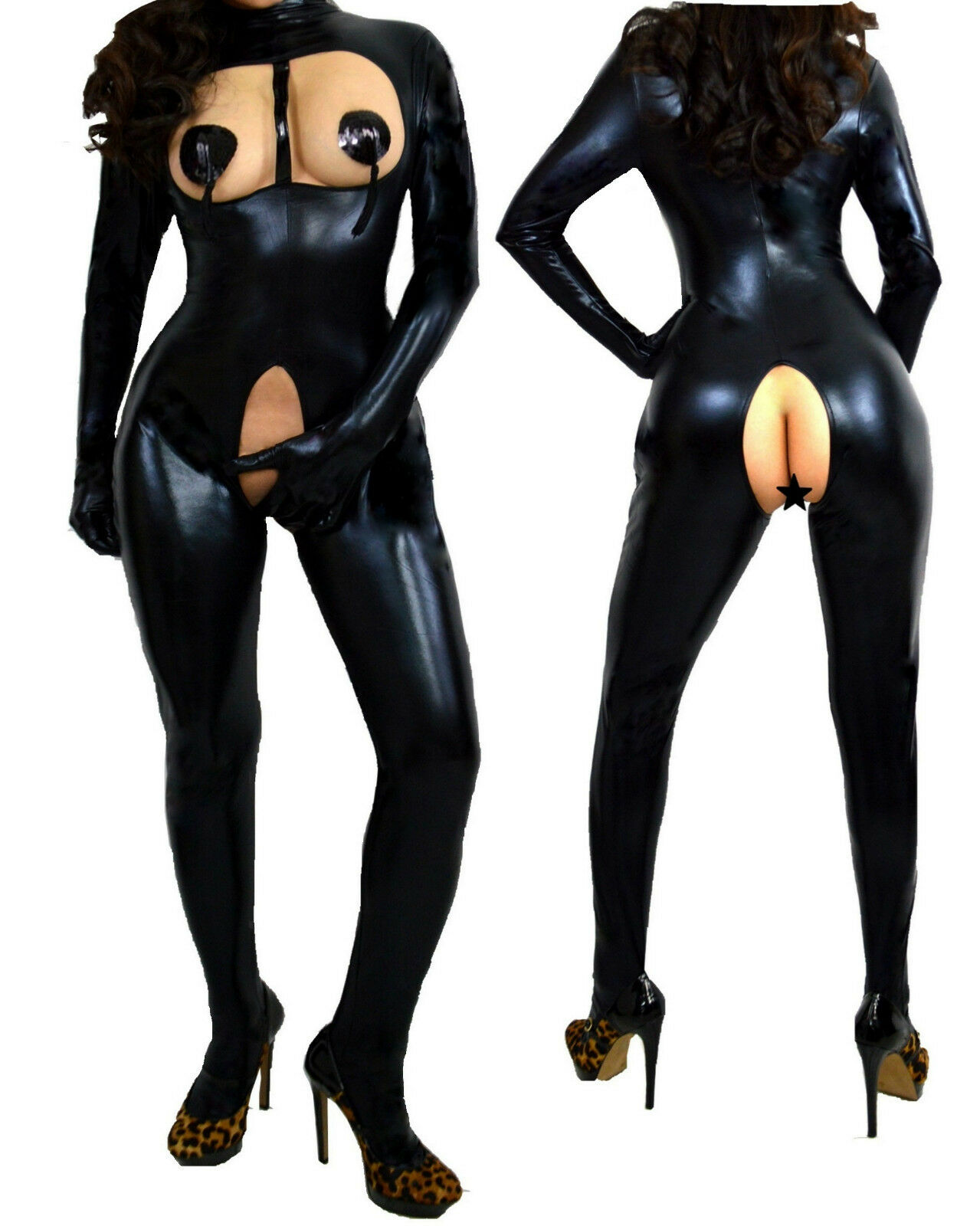 Domina Wetlook Ouvert Catsuit Lack Latex Fetisch Bdsm S M L 34 36 38 40 42 44